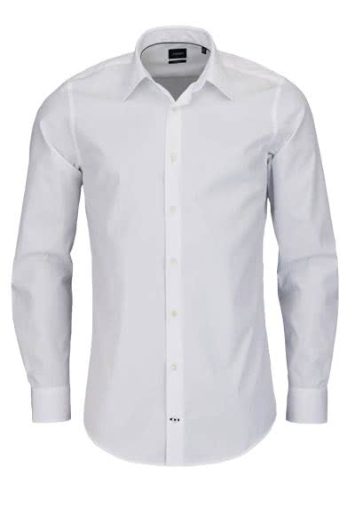 JOOP Slim Fit Hemd PIERCE Langarm New Kent Kragen Popeline weiß - Hemden Meister