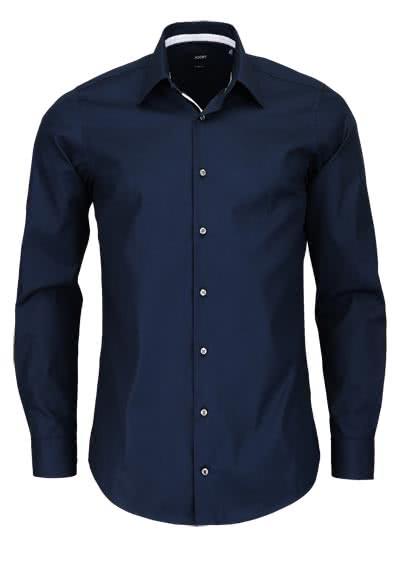 JOOP Slim Fit Hemd PIERCEK Langarm New Kent Kragen Popeline nachtblau - Hemden Meister