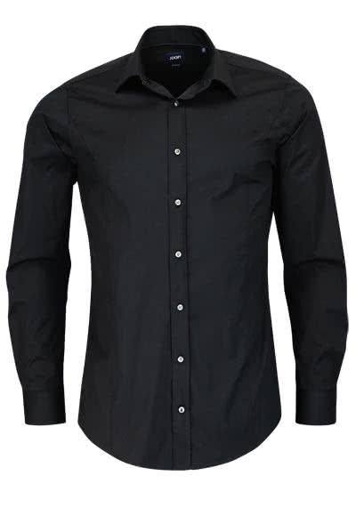 JOOP Slim Fit Stretch Hemd VICTOR Langarm New Kent Kragen schwarz - Hemden Meister