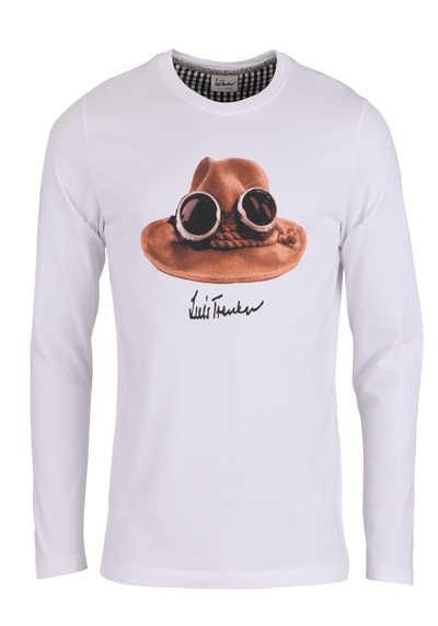 LUIS TRENKER T-Shirt Langarm DER HUT Rundhals mit Druck weiß - Hemden Meister
