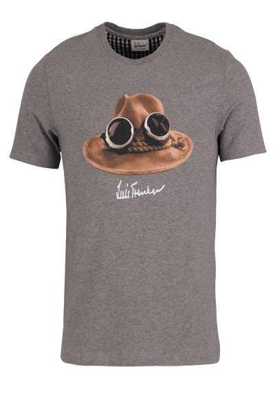LUIS TRENKER T-Shirt Halbarm DER HUT Rundhals mit Druck mittelgrau - Hemden Meister