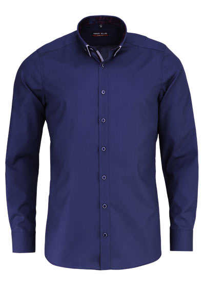 MARVELIS Body Fit Hemd Langarm Button Down Kragen navy