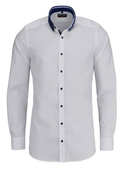 MARVELIS Body Fit Hemd extra langer Arm Button Down Kragen weiß