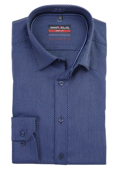 MARVELIS Body Fit Hemd extra langer Arm Struktur dunkelblau