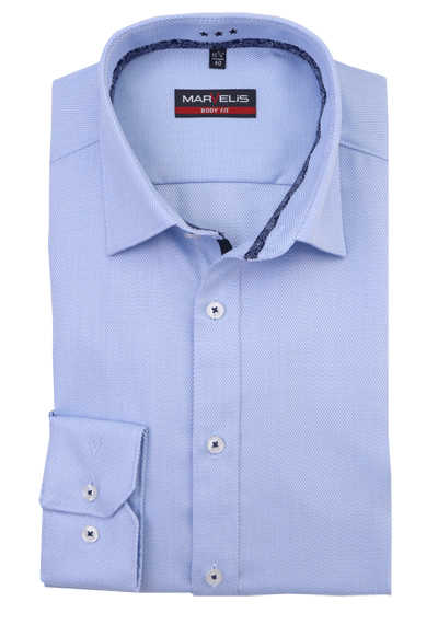 MARVELIS Body Fit Hemd extra langer Arm Struktur hellblau