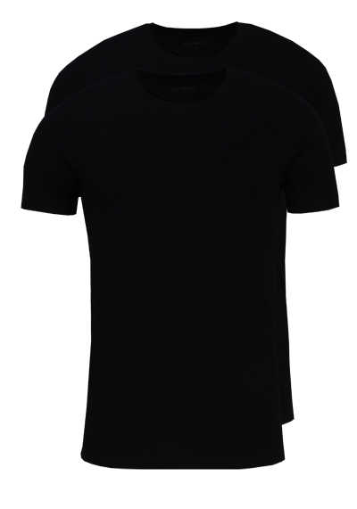 MARVELIS Body Fit T-Shirt Doppelpack Rundhals schwarz