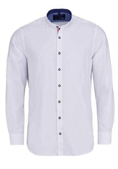 MARVELIS Casual Fit Hemd Langarm Stehkragen Oxford weiß