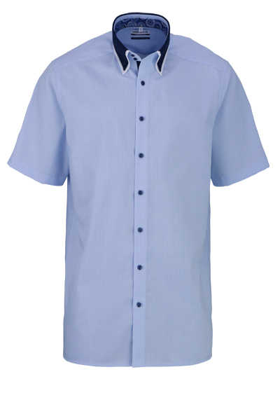 MARVELIS Comfort Fit Hemd Halbarm Button Down Kragen Karo blau