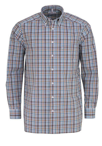 MARVELIS Comfort Fit Hemd Langarm Button Down Kragen Karo braun