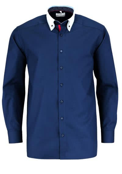 MARVELIS Comfort Fit Hemd Langarm Button Down Kragen Patch nachtblau