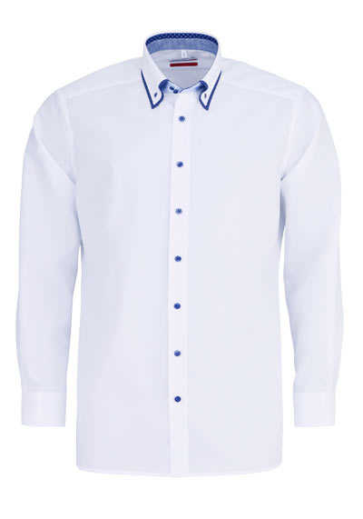 MARVELIS Modern Fit Hemd Langarm Button Down Kragen Besatz weiß