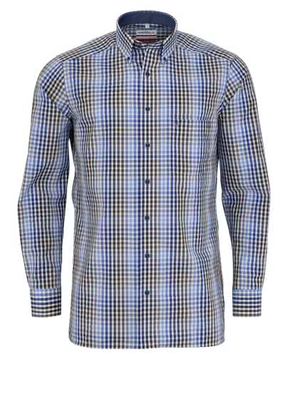MARVELIS Modern Fit Hemd Langarm Button Down Kragen Karo blau