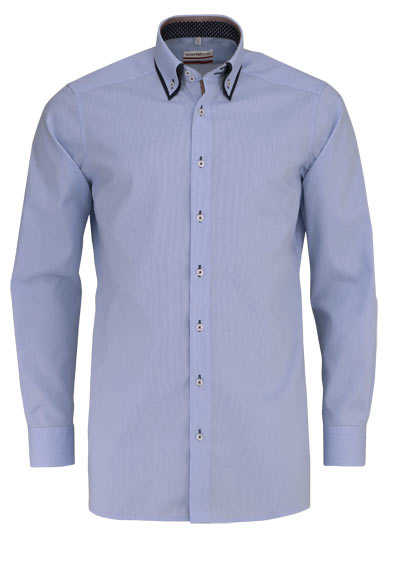 MARVELIS Modern Fit Hemd Langarm Button Down Kragen Karo hellblau