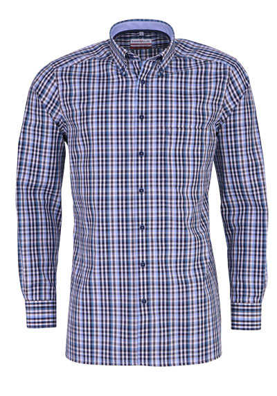 MARVELIS Modern Fit Hemd Langarm Button Down Kragen Karo nachtblau
