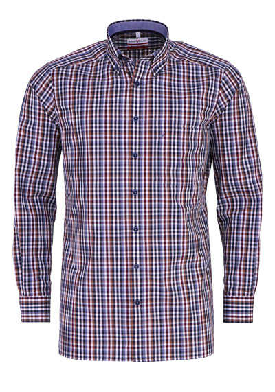 MARVELIS Modern Fit Hemd Langarm Button Down Kragen Karo rauchblau