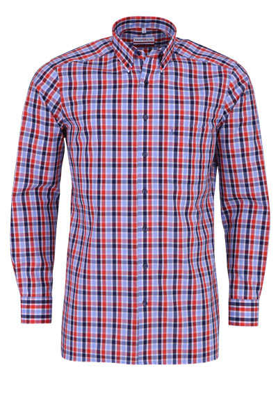 MARVELIS Modern Fit Hemd Langarm Button Down Kragen Karo rot