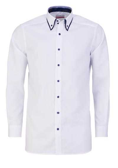 MARVELIS Modern Fit Hemd Langarm Button Down Kragen Struktur weiß
