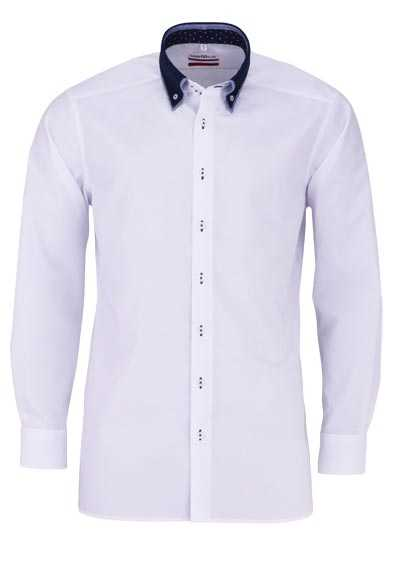 MARVELIS Modern Fit Hemd Langarm Button Down Kragen weiß