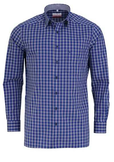MARVELIS Modern Fit Hemd Langarm Under Button Down Kragen Karo blau