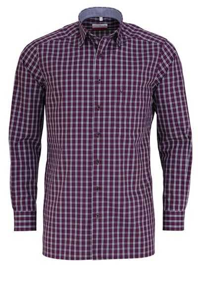 MARVELIS Modern Fit Hemd Langarm Under Button Down Kragen Karo weinrot