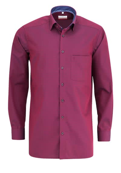 MARVELIS Modern Fit Hemd Langarm Under Button Down Muster lila