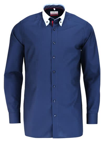 MARVELIS Modern Fit Hemd Langarm doppelter Button Down Kragen navy