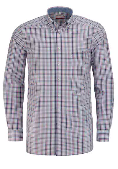 MARVELIS Modern Fit Hemd extra langer Arm Button Down Kragen Karo rosa