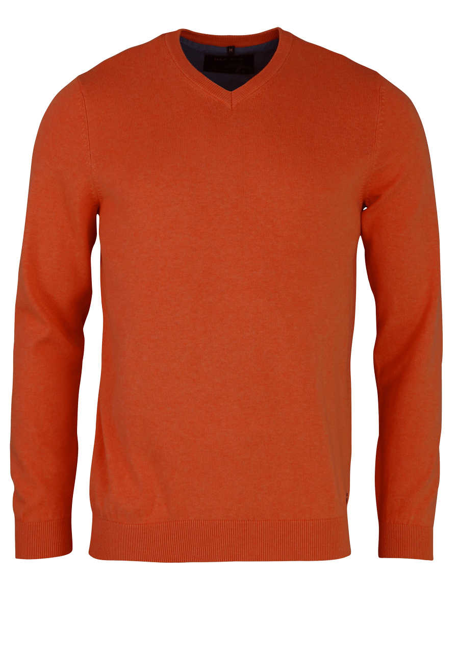 MARVELIS Strick Pullover Langarm V-Ausschnitt orange