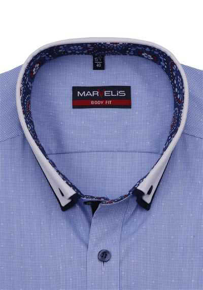MARVELIS Body Fit Hemd Langarm Button Down Kragen Muster blau
