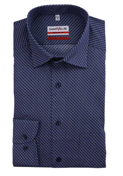MARVELIS Modern Fit Hemd extra langer Arm Under-Button-Down Kragen Muster hellblau