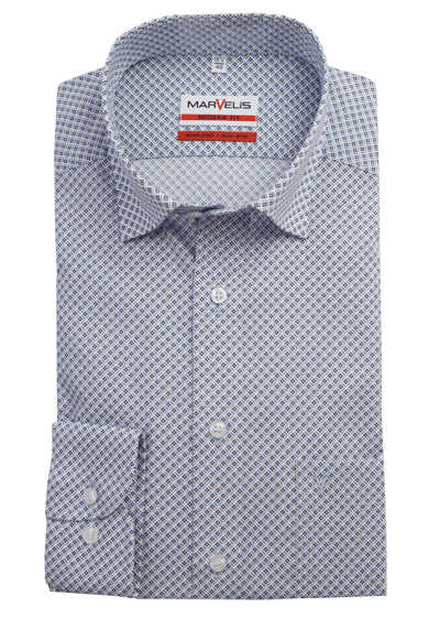 MARVELIS Modern Fit Hemd extra langer Arm Under-Button-Down Kragen Muster hellblau preisreduziert