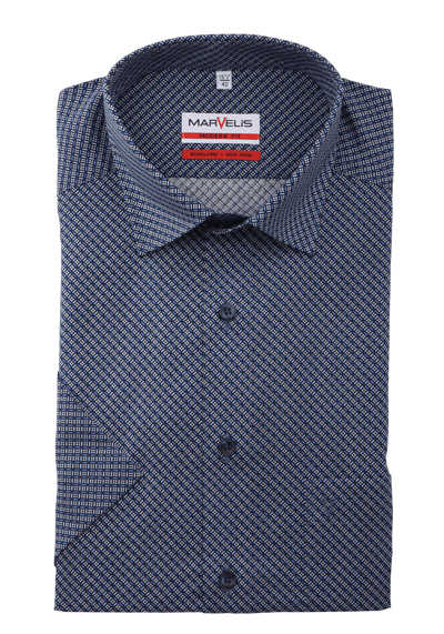 MARVELIS Modern Fit Hemd Halbarm Under-Button-Down Kragen Muster blau preisreduziert
