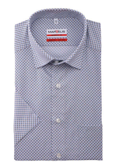 MARVELIS Modern Fit Hemd Halbarm Under-Button-Down Kragen Muster hellblau