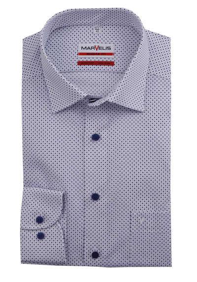 MARVELIS Modern Fit Hemd Langarm New Kent Kragen Punkte dunkelblau