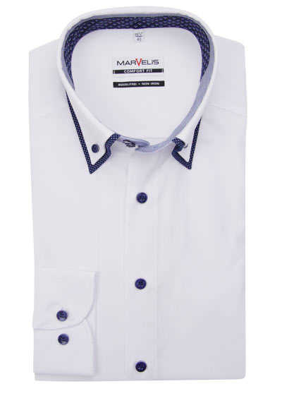MARVELIS Comfort Fit Hemd Langarm Button Down Kragen weiß