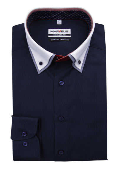 MARVELIS Comfort Fit Hemd Langarm Button Down Kragen nachtblau