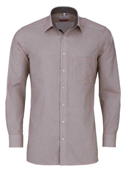 MARVELIS Modern Fit Hemd Langarm New Kent Kragen Karo braun - Hemden Meister