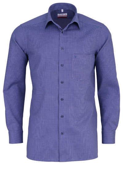 MARVELIS Modern Fit Hemd Langarm New Kent Kragen Muster dunkelblau - Hemden Meister