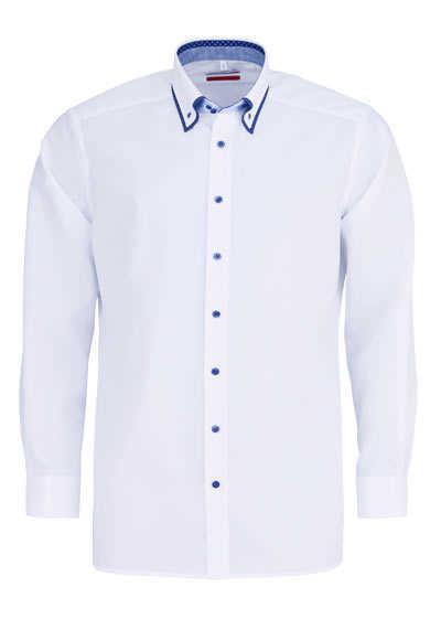 MARVELIS Modern Fit Hemd Langarm Button Down Kragen Besatz weiß - Hemden Meister