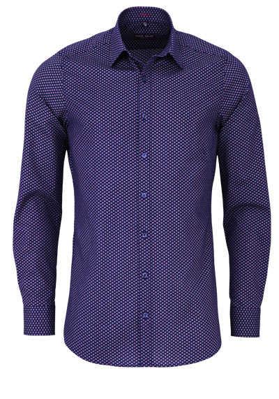 MARVELIS Body Fit Hemd Langarm New Kent Kragen Muster dunkelblau - Hemden Meister