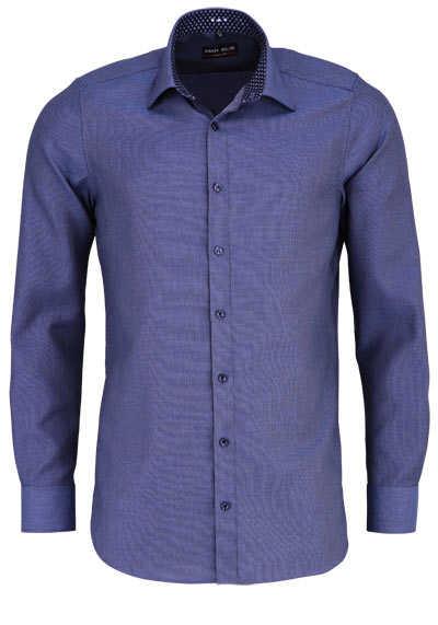 MARVELIS Body Fit Hemd Langarm New Kent Kragen Struktur dunkelblau - Hemden Meister