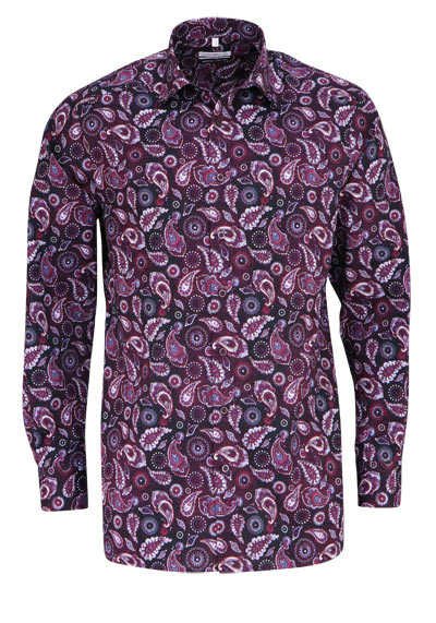 MARVELIS Comfort Fit Hemd Langarm New Kent Kragen Muster pflaume - Hemden Meister