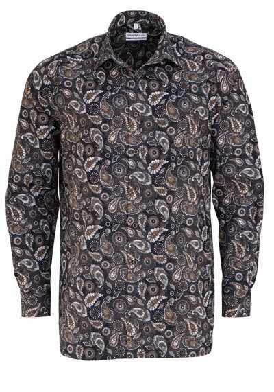 MARVELIS Comfort Fit Hemd Langarm New Kent Kragen Muster braun - Hemden Meister