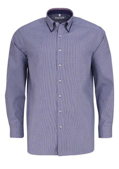 MARVELIS Comfort Fit Hemd Langarm Button Down Kragen Karo dunkelblau - Hemden Meister