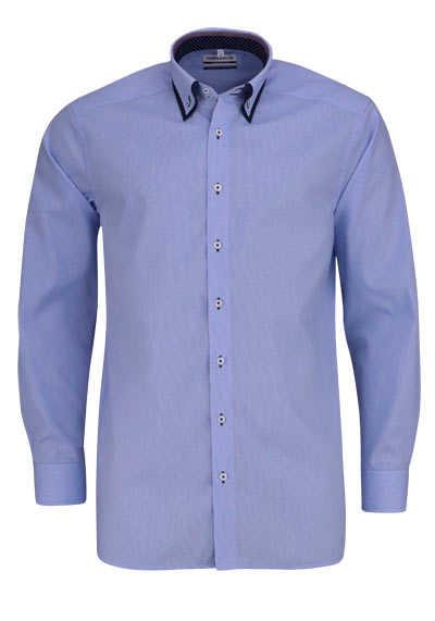 MARVELIS Comfort Fit Hemd Langarm Button Down Kragen Karo hellblau - Hemden Meister