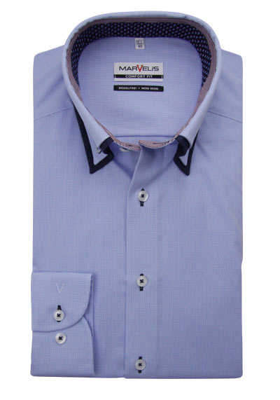 MARVELIS Comfort Fit Hemd Langarm Button Down Kragen Karo hellblau