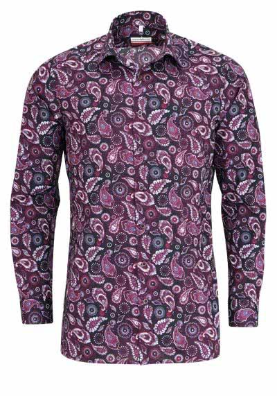 MARVELIS Modern Fit Hemd Langarm New Kent Kragen Muster lila - Hemden Meister
