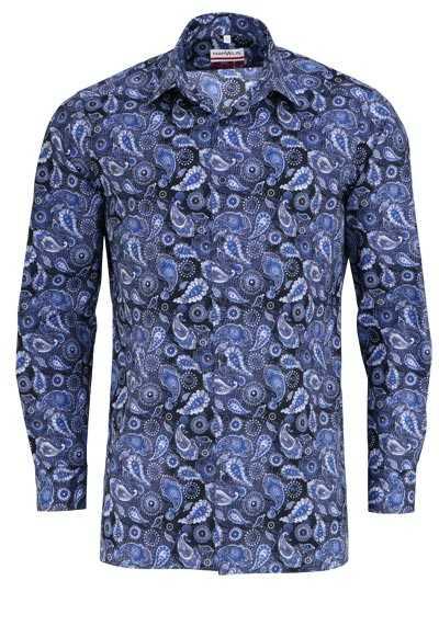 MARVELIS Modern Fit Hemd extra langer Arm Muster blau - Hemden Meister