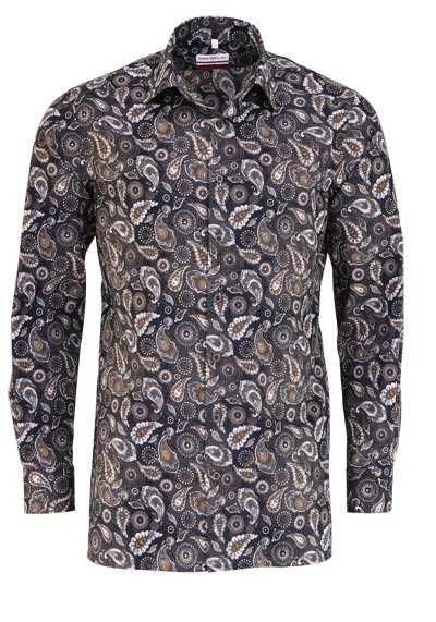 MARVELIS Modern Fit Hemd Langarm New Kent Kragen Muster braun - Hemden Meister