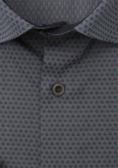 MARVELIS Modern Fit Hemd Langarm Under Button Down Muster anthrazit